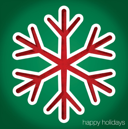 Snowflake  Happy Holidays  cut out card Vector