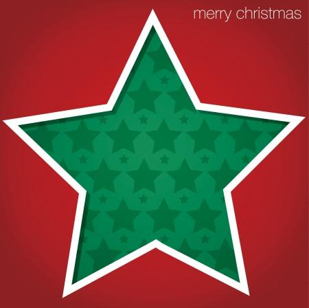 Star  Merry Christmas  cut out card Vector