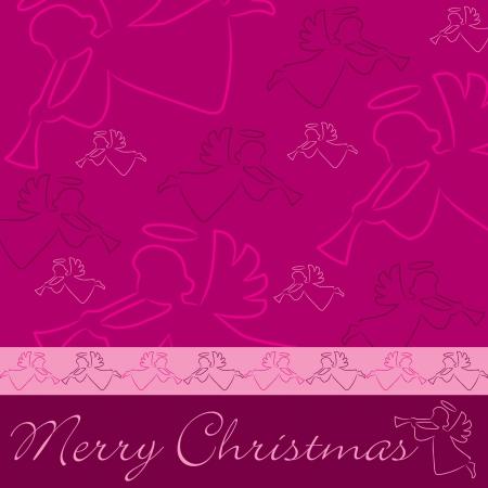 fuchsia: Dibujado a mano �ngel tarjeta de la Feliz Navidad