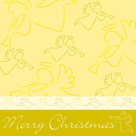 Hand drawn angel  Merry Christmas  card Vector