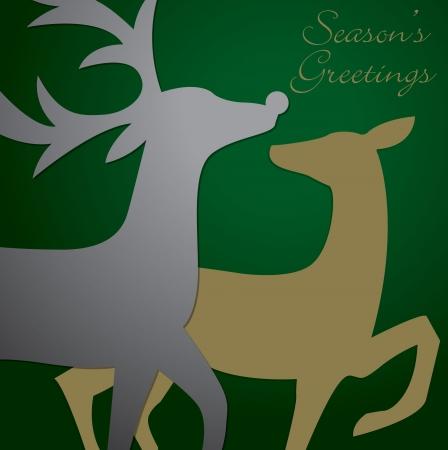 Kissing reindeer Christmas card Vector