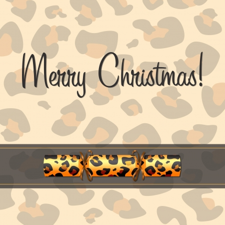 Leopard Christmas cracker card  Vector
