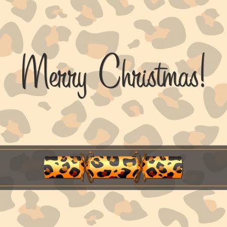 christmas cracker: Leopard Christmas cracker card  Illustration