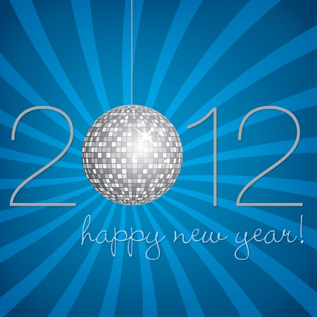 Blue and silver disco ball Happy New Year Card Vector