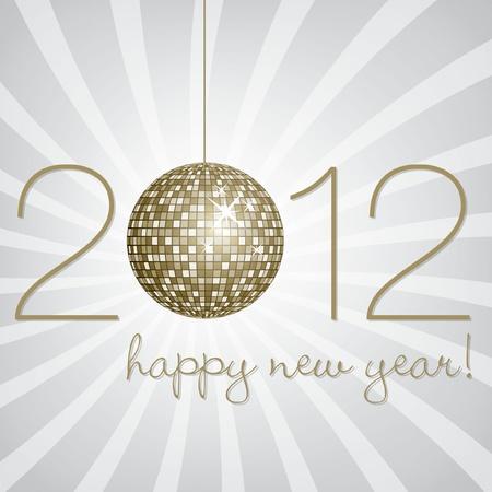 Silver disco ball Happy New Year Card Vector