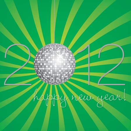 nineties: Silver disco ball Happy New Year Card Illustration