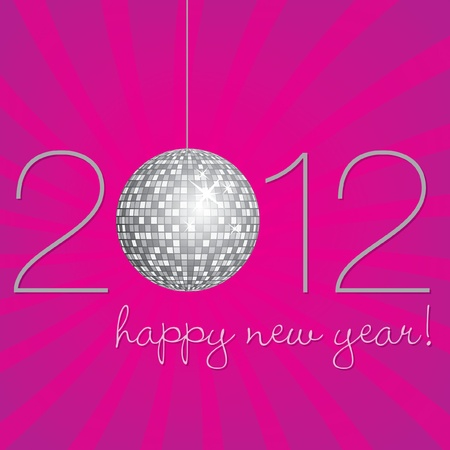 fuschia: Pink and silver disco ball Happy New Year Card