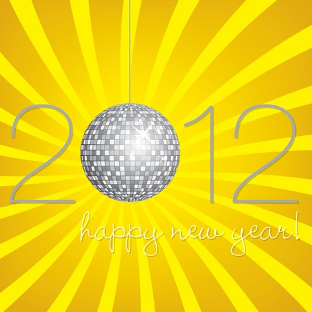 nineties: Disco Ball Happy New Year Card Illustration