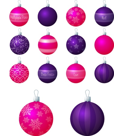 boas: A illustration of pink and purple different patterned Christmas baubles on a white background  Illustration