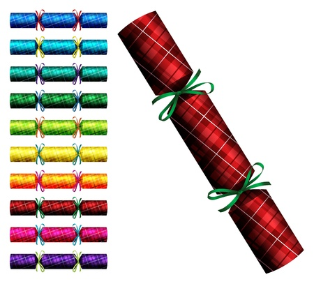 Plaid Tartan Christmas crackers in a variety of colours on a white background Vector