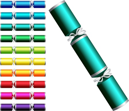 cracker: Plain Christmas crackers in a variety of colours on a white background