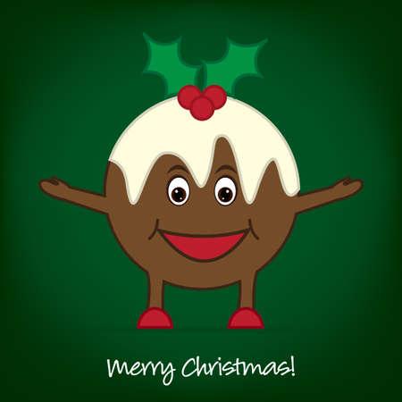 christmas cake: Cute Pudding Christmas card Illustration