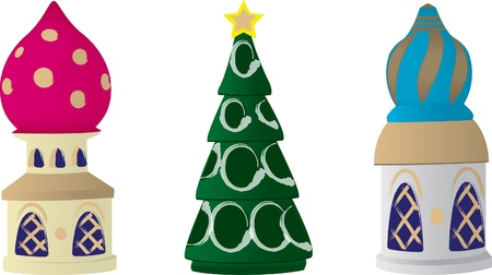 fuschia: A illustration of a three Russian Christmas tree decorations on a white background