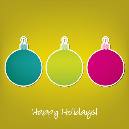 Happy Holidays sticker bauble card  Vector