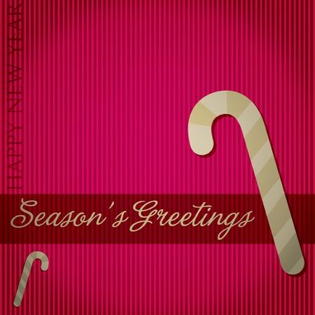 Season s Greetings  candy cane card  Vector
