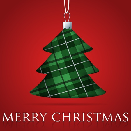 Tartan Christmas tree bauble card Vector