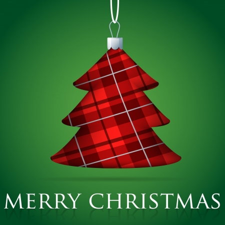 Tartan Christmas tree bauble card in vector format  Vector
