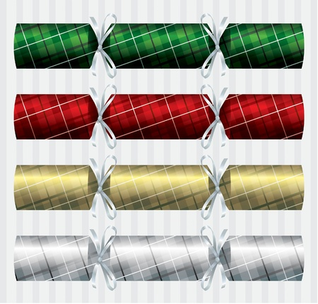Bright plaid  tartan  Christmas crackers Vector
