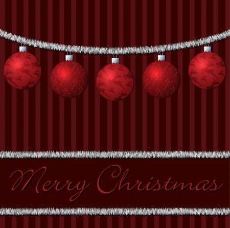 Red tinsel and ball cards Vector