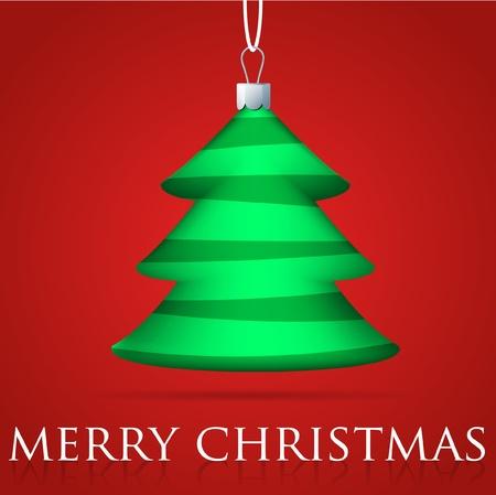 Christmas tree bauble card Vector