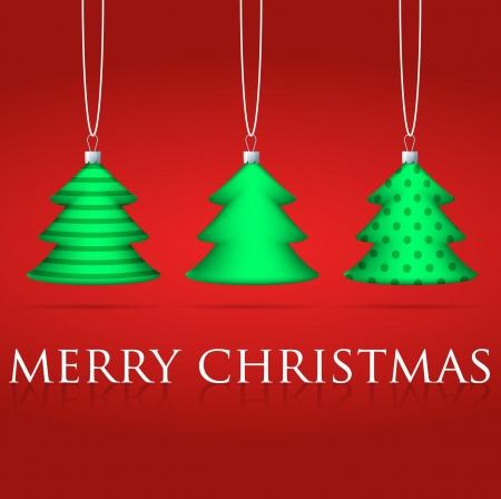 3 Christmas tree bauble card Vector