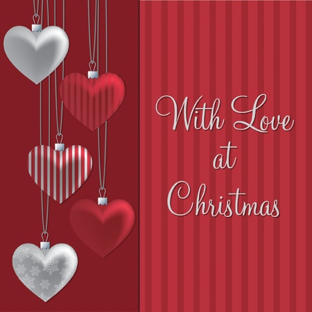 Red and silver with love at Christmas card Vector