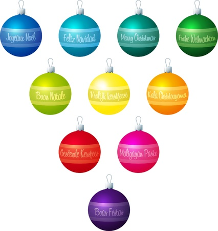 fuschia: A illustration of Christmas baubles with  Merry Christmas  in 10 different languages on a white background