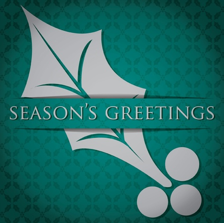 Silver Holly  Season s Greetings  card Vector