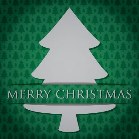 Silver Christmas Tree  Merry Christmas  card Vector