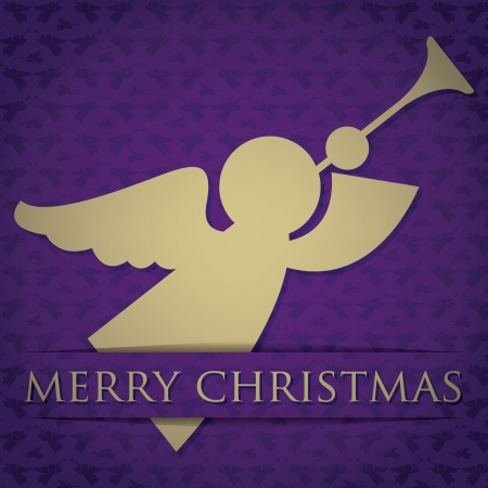 Gold angel  Merry Christmas  card  Vector