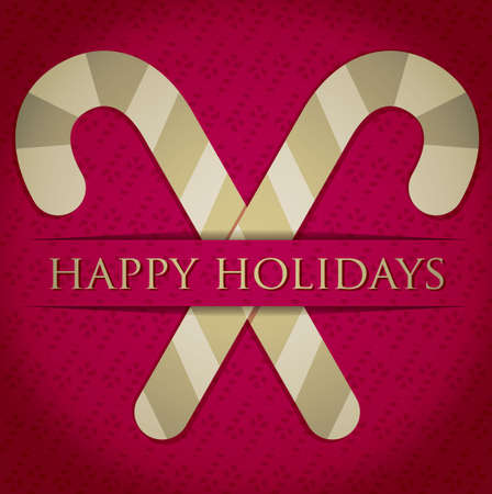 happy holidays card: Gold candy cane  Happy Holidays  card