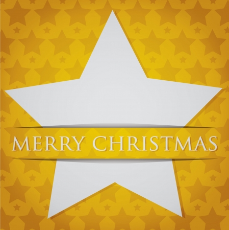 Silver star  Merry Christmas  card Vector