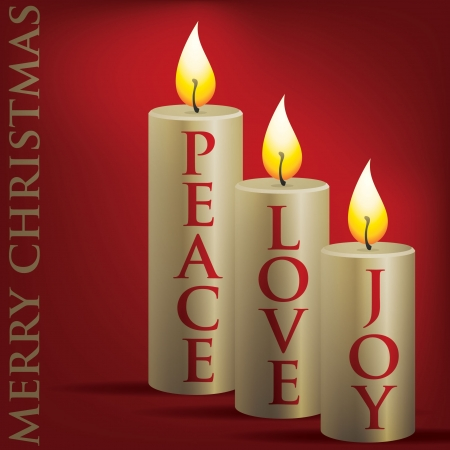 natale: Merry Christmas Peace, Love, Joy candle card  Illustration