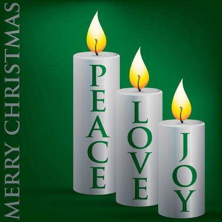 Merry Christmas Peace, Love, Joy candle card Vector