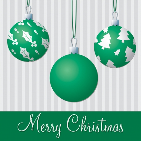 Formal green and silver Christmas card  Vector
