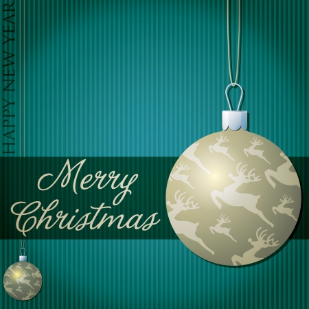 Merry Christmas reindeer bauble card Vector