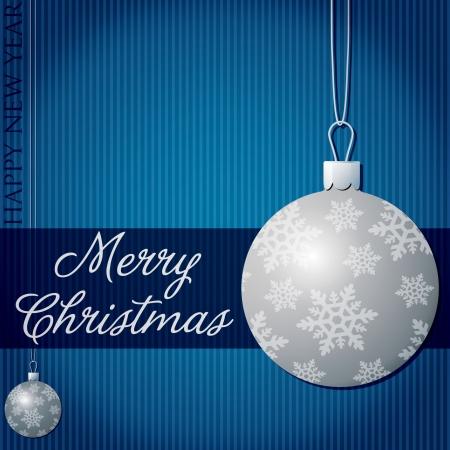Merry Christmas snow bauble card