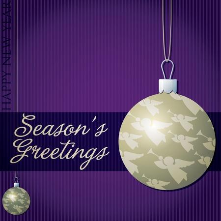 Season s Greetings angel bauble card Vector