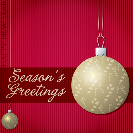 natal: Season s Greetings candy cane bauble card  Illustration
