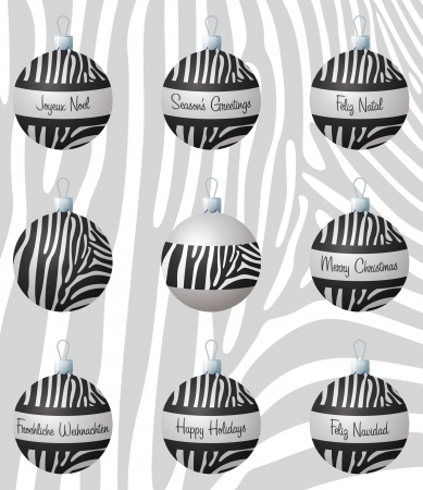 Zebra inspired Christmas baubles Vector