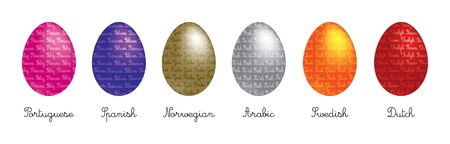 observance: A set of 6 Easter Eggs with  Happy Easter  in different languages  Illustration