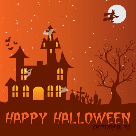 Haunted house  Happy Halloween  card Vector