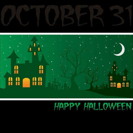Haunted house  Happy Halloween  card  Vector