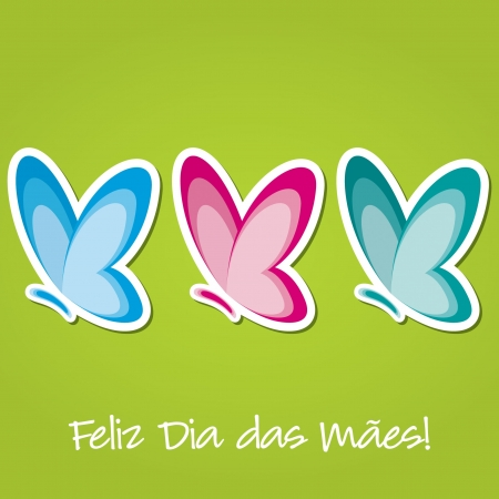 Butterfly  Happy Mother s Day  sticker card  Vector