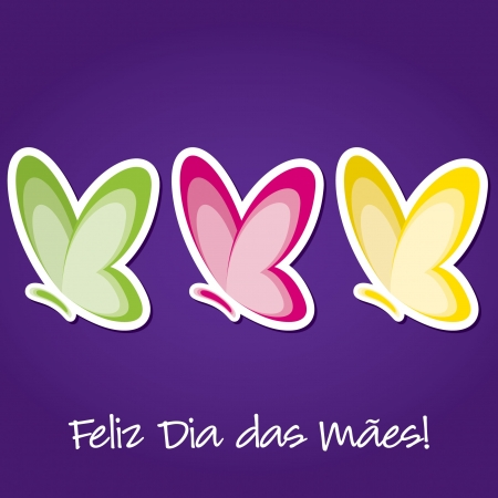 Portuguese butterfly  Happy Mother s Day  sticker card