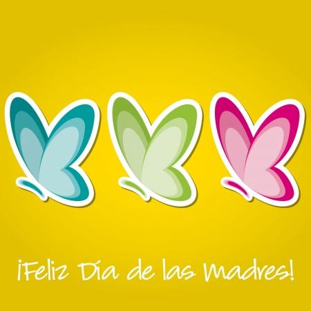 invertebrate: Spanish butterfly  Happy Mother s Day  sticker card Illustration