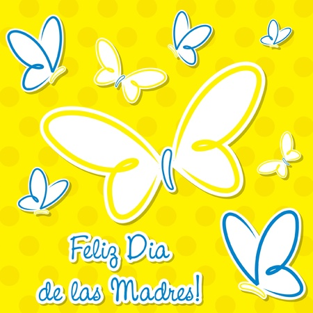 Bright Spanish butterfly  Happy Mother s Day  sticker card Vector
