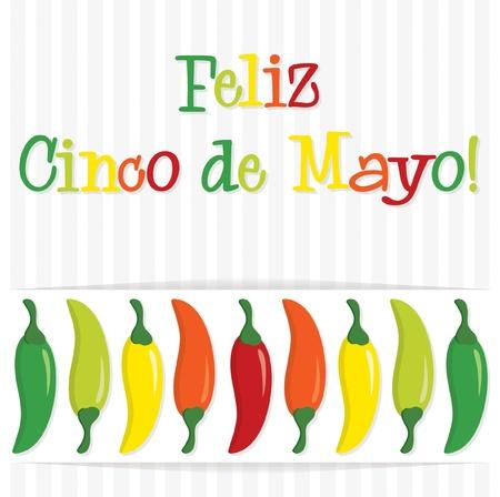 5th:  Feliz Cinco de Mayo   Happy 5th of May  chilli card