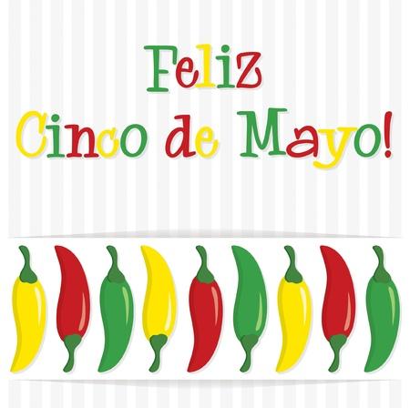 5th:  Feliz Cinco de Mayo   Happy 5th of May  chilli card  Illustration