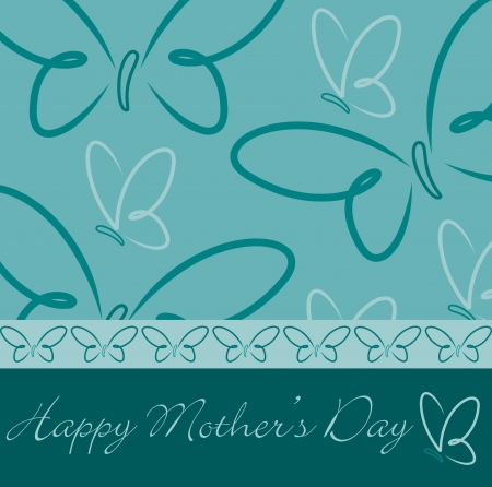 Happy Mother s Day butterfly card  Vector